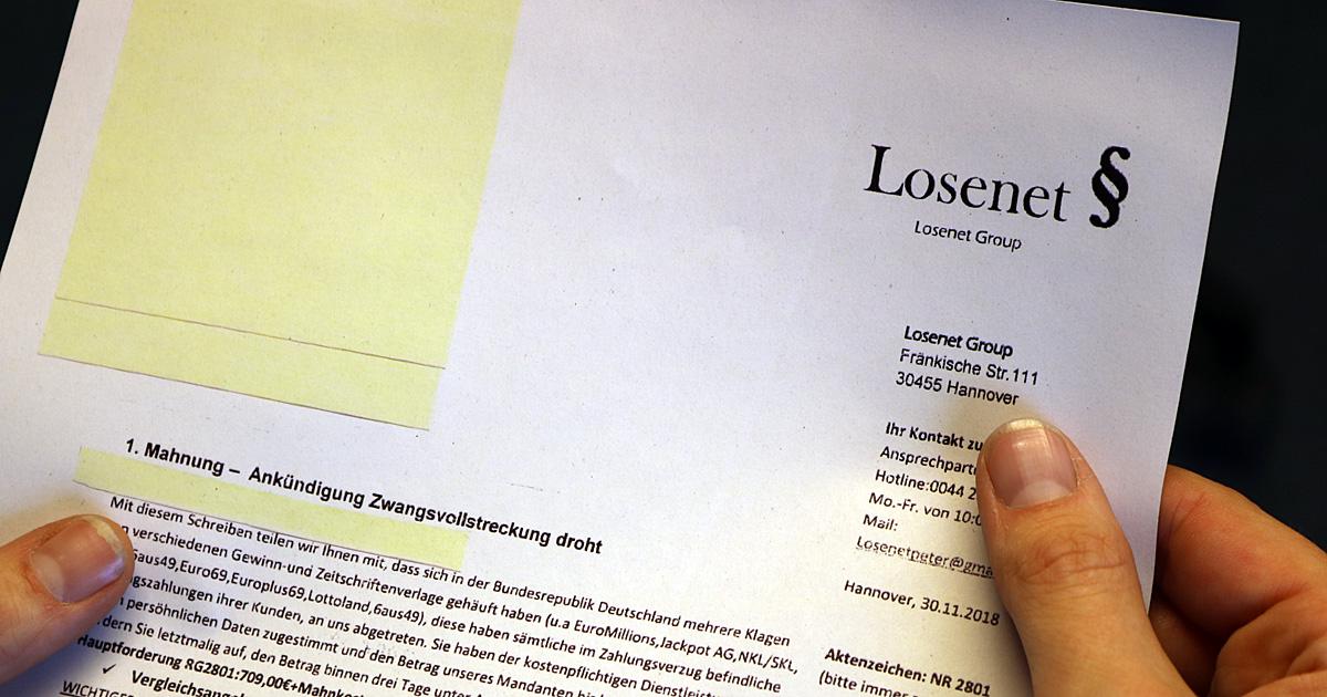 Losenet Verschickt Gefälschte Mahnungen Verbraucherzentrale Nrw