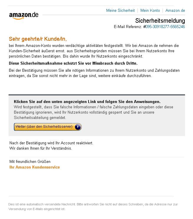Phishing Mail Amazon Melden