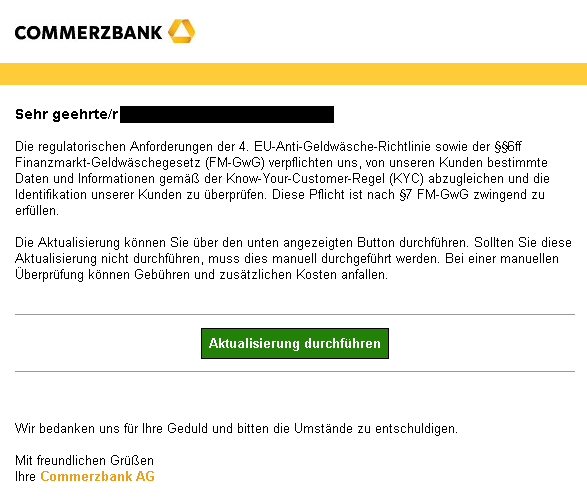 Commerzbank Phishing-Mail
