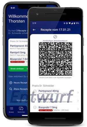 Zwei Smartphones zeigen Beispiel-Frontend des Versicherten zum E-Rezept