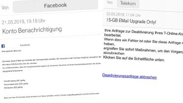 Screenshots zweier Phishing-Mails